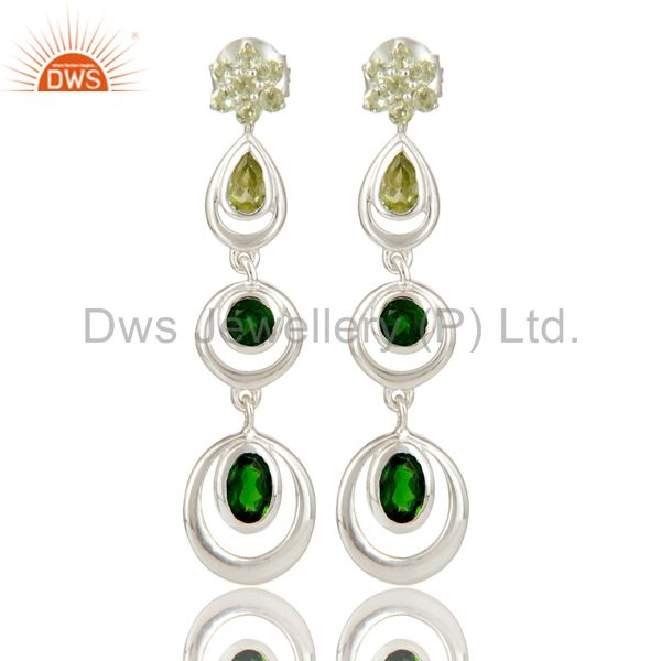 925 Sterling Silver Chrome Diopsite and Peridot Circle Dangle Earrings For Women