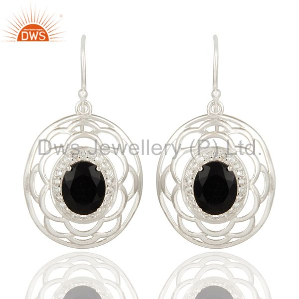 Natural White Topaz And Black Onyx Sterling Silver Earrings