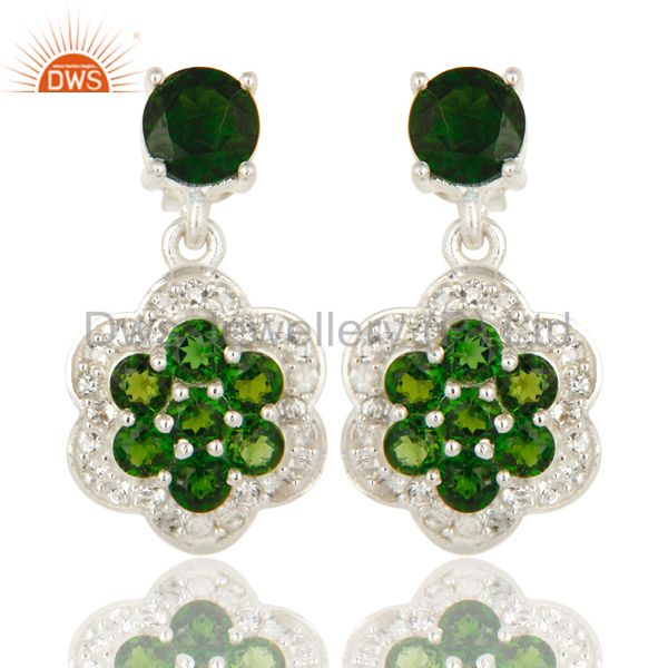925 Sterling Silver Natural Chrome Diopside Designer Earrings With White Topaz