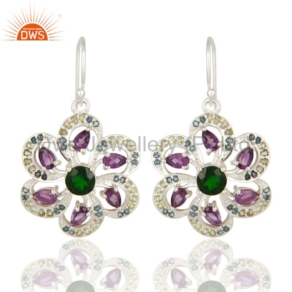 Amethyst, Blue Topaz, Peridot And Chrome Diopside Sterling Silver Flower Earring