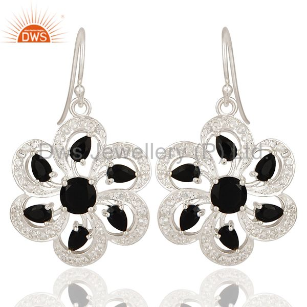 925 Sterling Silver Black Onyx And White Topaz Floral Cluster Earrings