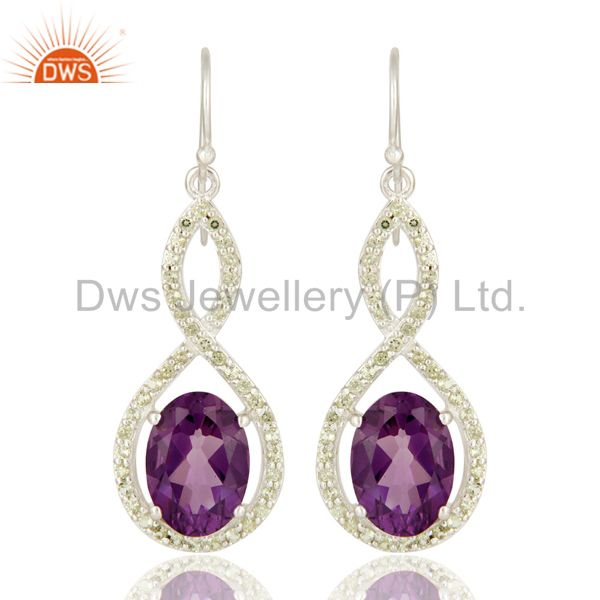 Natural Amethyst Sterling Silver Peridot Gemstone Accent Designer Dangle Earring