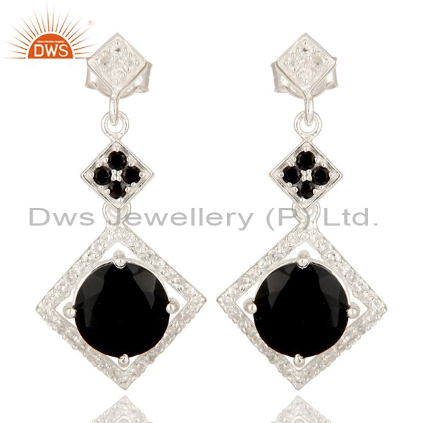 Black Onyx, Black Spinel And White Topaz Sterling Silver Cluster Dangle Earrings