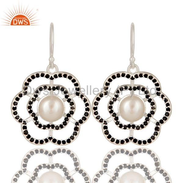 925 Sterling Silver Black Spinel And Natural White Pearl Designer Dangle Earring