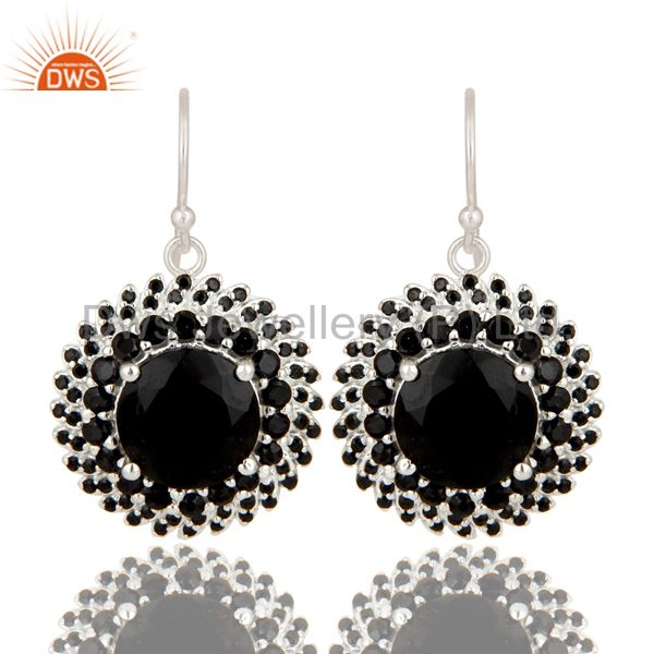 925 Sterling Silver Black Spinel And Black Onyx Gemstone Flower Dangle Earrings