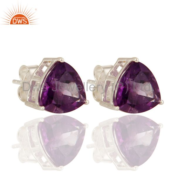Solid Sterling Silver Natural Amethyst Gemstone Trillion Cut Studs Earrings