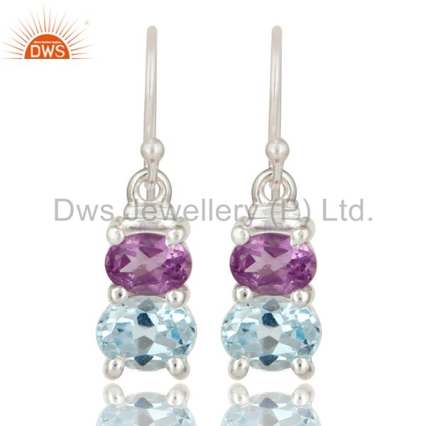 925 Sterling Silver Purple Amethyst And Blue Topaz Gemstone Dangle Earrings