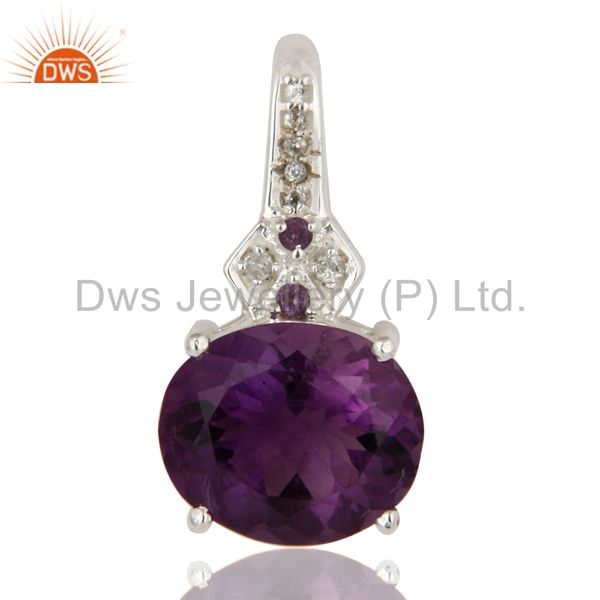 White Topaz And Amethyst 925 Sterling Silver Fine Gemstone Pendant Jewelry