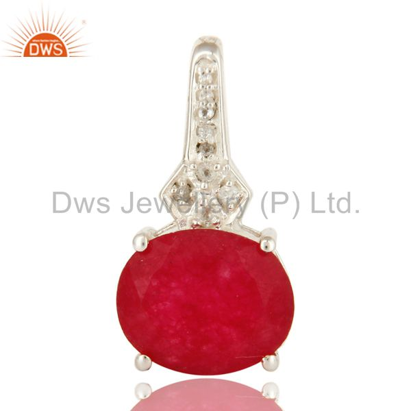 925 Sterling Silver Red Aventurine Gemstone And White Topaz Pendant