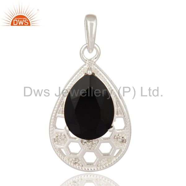 Solid 925 Sterling Silver Black Onyx Gemstone Solitaire Pendant With White Topaz