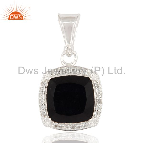 Cushion Cut Black Onyx Gemstone 925 Sterling Silver Pendant With White Topaz