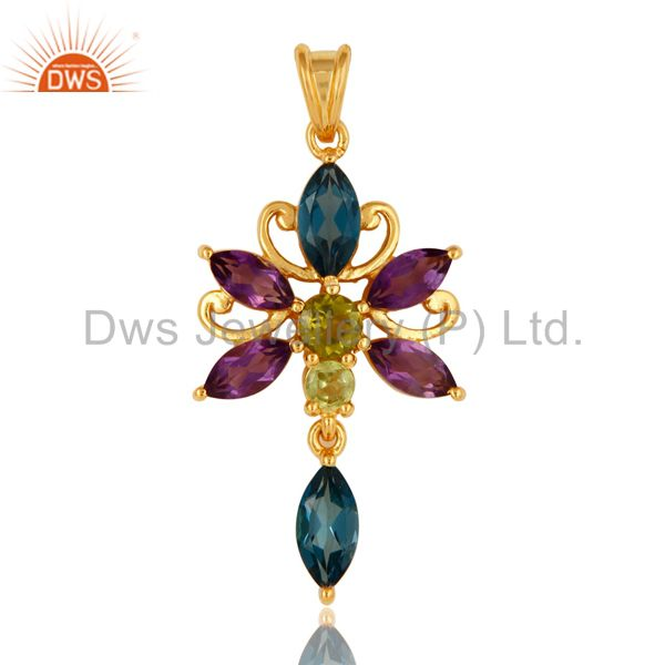 Natural Peridot, Amethyst And Blue Topaz Sterling Silver Pendant With Gold Plate