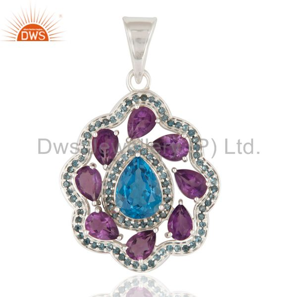 925 Sterling Silver Natural Amethyst And London Blue Topaz Solitaire Pendant