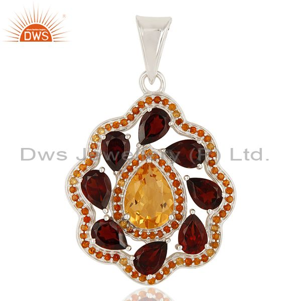 925 Sterling Silver Garnet And Citrine Gemstone Cluster Designer Pendant