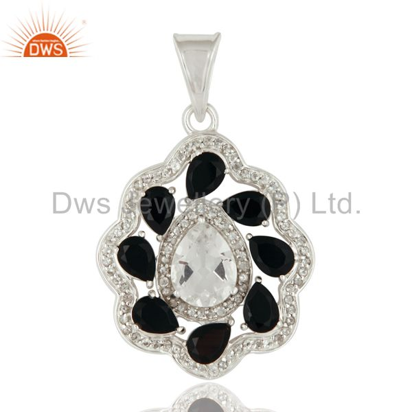 925 Sterling Silver Crystal Quartz Pendant With Black Onyx and White Topaz Stone