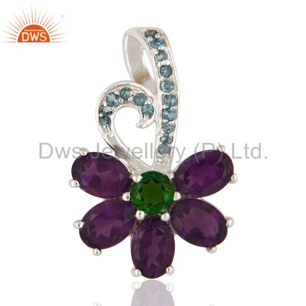 Natural Amethyst, Blue Topaz And Chrome Diopside Pendant In 925 Sterling Silver