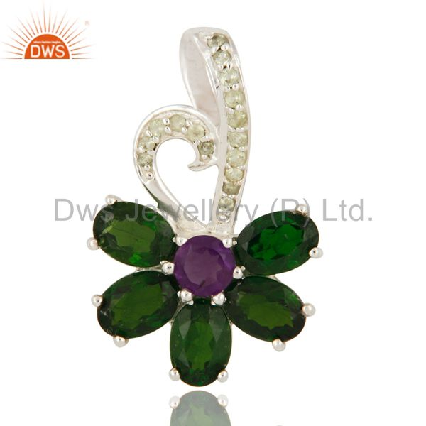 Natural Amethyst And Chrome Diopside Sterling Silver Designer Pendant With Topaz