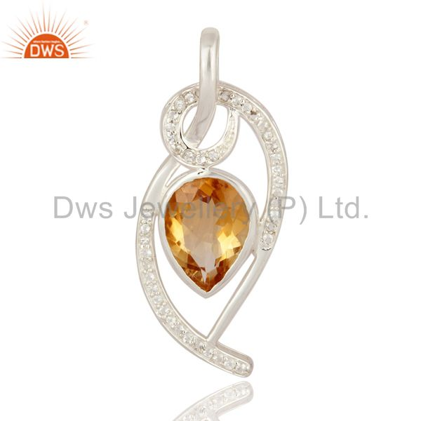 Ladies 925 Sterling Silver Genuine Citrine And White Topaz Desinger Pendant