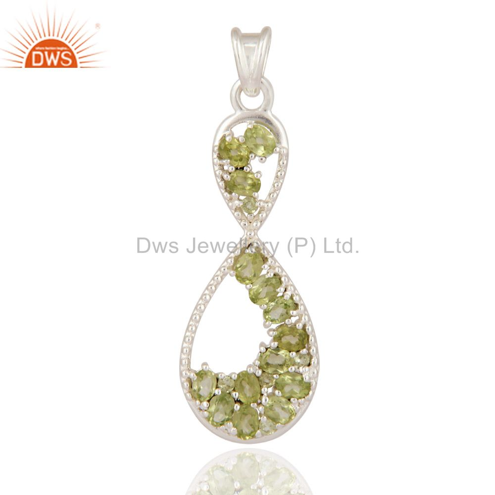 Fine Jewelry Gemstone Peridot Solitaire Style Pendant In 925 Sterling Silver