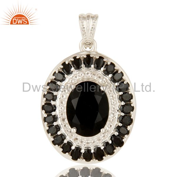 925 Sterling Silver Black Onyx And White Topaz Gemstone Cluster Pendant Jewelry