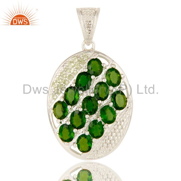 925 Solid Sterling Silver Chrome Diopside And Peridot Designer Cluster Pendant