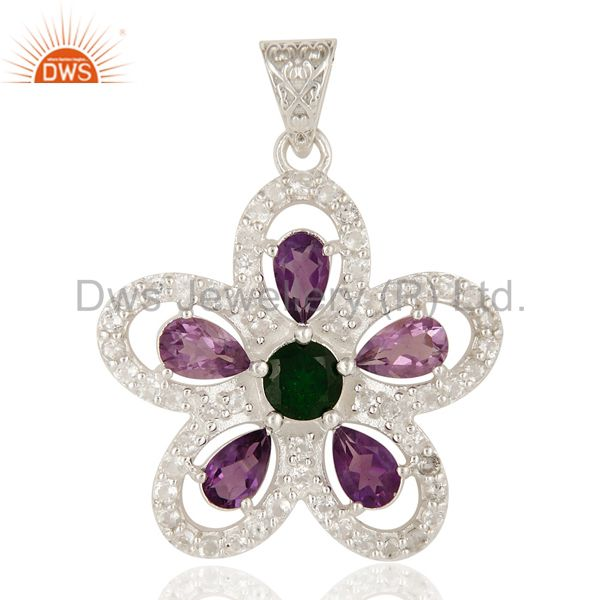 Designer Amethyst, Peridot And Chrome Diopside Sterling Silver Flower Pendant