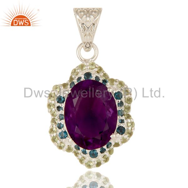 Amethyst, Blue Topaz And Peridot Prong Set Gemstone Pendant In Sterling Silver