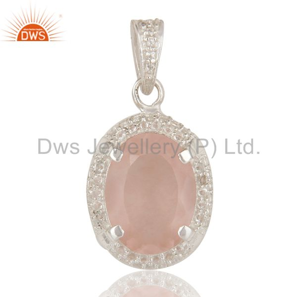 925 Sterling Silver Rose Quartz And White Topaz Prong Set Gemstone Pendant