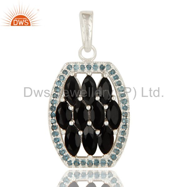 925 Sterling Silver Blue Topaz And Black Onyx Gemstone Cluster Pendant