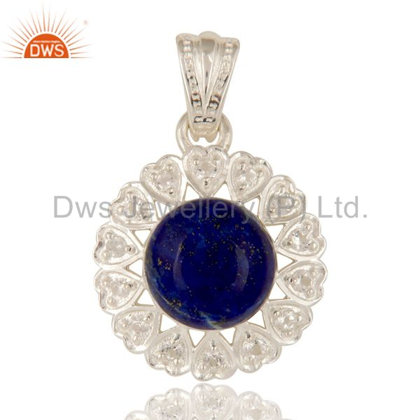 925 Sterling Silver Lapis Lazuli Gemstone And White Topaz Designer Pendant