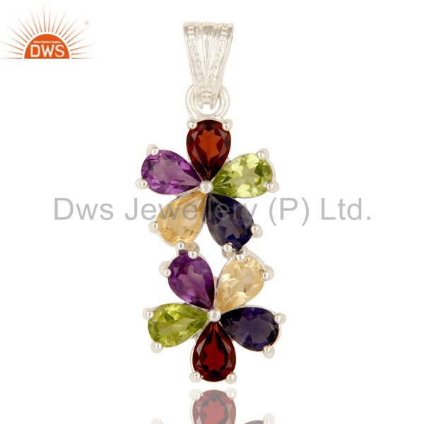 925 Sterling Silver Mix Colored Gemstone Double Flower Pendant