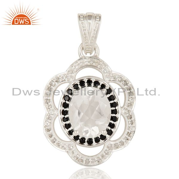 925 Sterling Silver Black Spinel, Crystal Quartz And White Topaz Cluster Pendant
