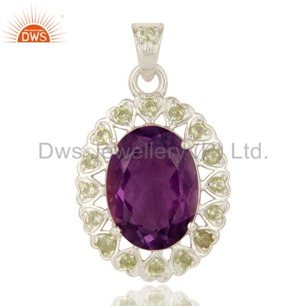 925 Sterling Silver Purple Amethyst And Peridot Prong Set Pendant