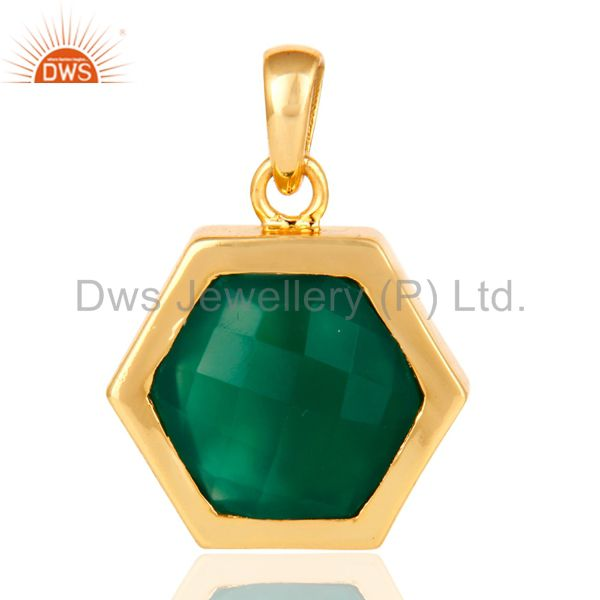 Faceted Green Onyx Gemstone Sterling Silver Pendant With Gold Plated