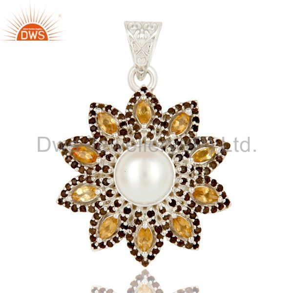 Natural Citrine Smokey And White Pearl Sterling Silver Flower Design Pendant