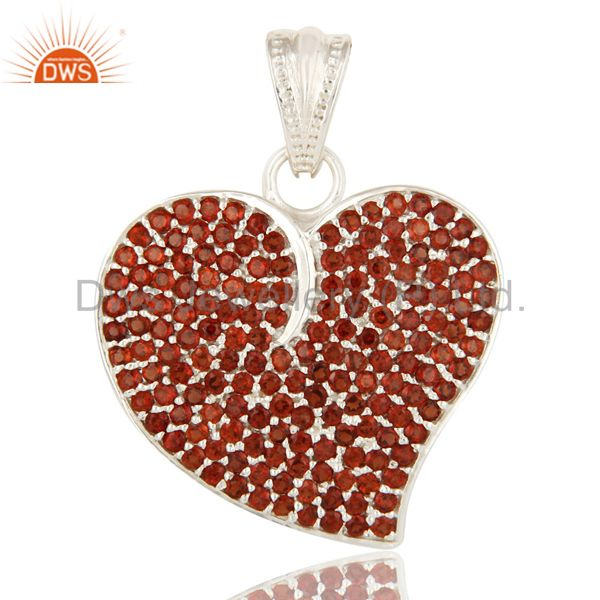 925 Sterling Silver Micro Pave Set Garnet Gemstone Heart Shape Pendant For Women