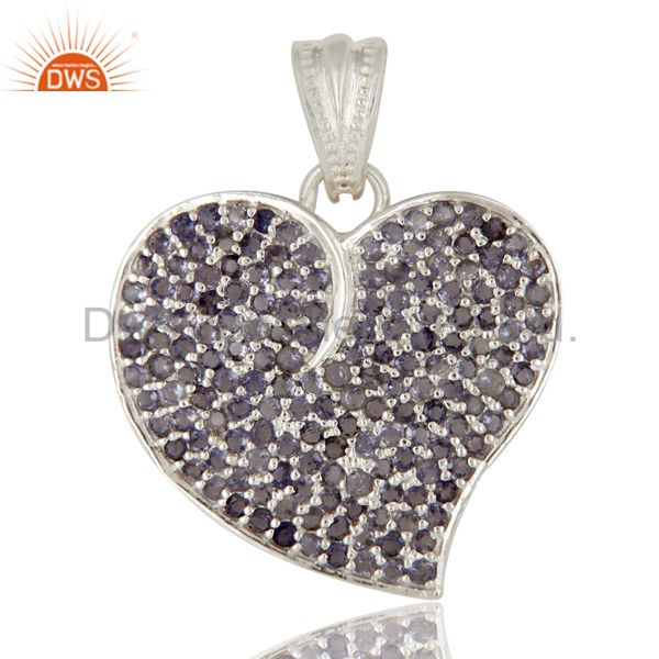 925 Sterling Silver Micro Pave Set Iolite Gemstone Heart Shape Pendant For Women