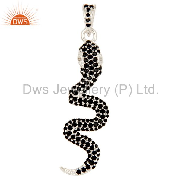 925 Sterling Silver Snake Design Pendant With Black Spinal, Black Onyx And Topaz