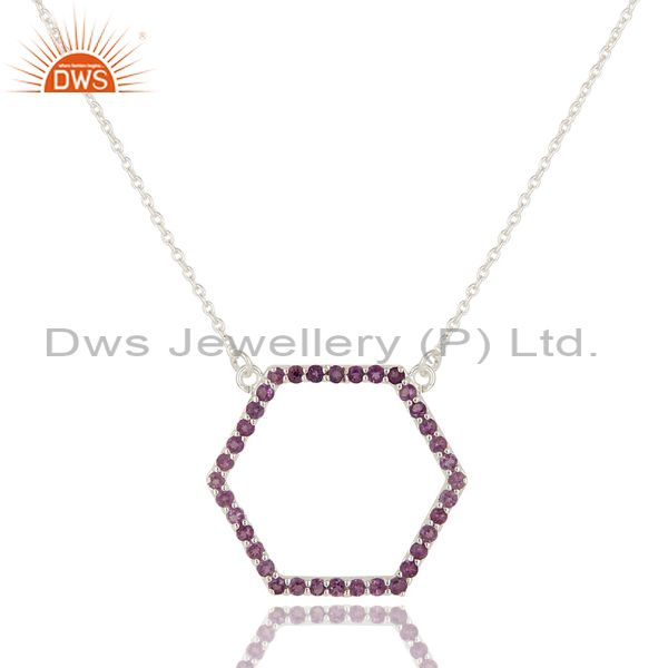 925 Sterling Silver Amethyst Gemstone Open Hexagon Pendant Chain Necklace