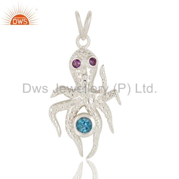 925 Sterling Silver Octopus Pendant Amethyst and Blue Topaz Gemstone Jewelry