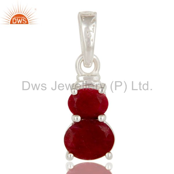 925 Sterling Silver Natural Ruby Gemstone Prong Set Pendant