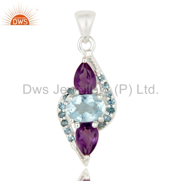 Natural Amethyst And Blue Topaz Sterling Silver Fine Gemstone Pendant Jewelry