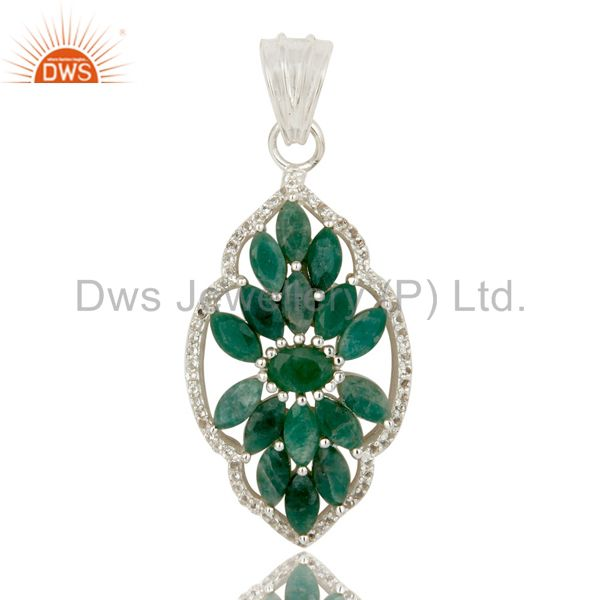 Natural Emerald and White Topaz 925 Silver Gemstone Pendant Necklace Jewelry