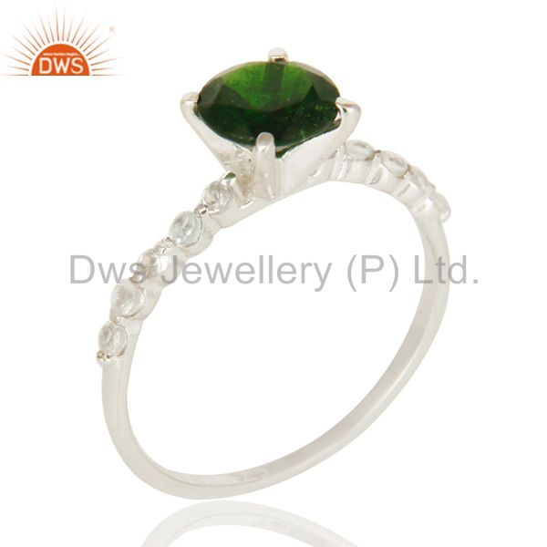 Natural Chrome Diopside And White Topaz Sterling Silver Solitaire Ring