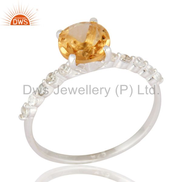 925 Sterling Silver Citrine Gemstone And White Topaz Halo Engagement Ring