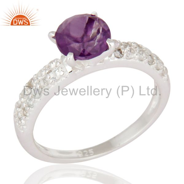 Sterling Silver Round Cut Amethyst Gemstone Solitaire Ring With White Topaz Halo