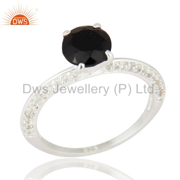 Black Onyx And White Topaz Halo Ring in Sterling Silver Gemstone Fine Jewelry