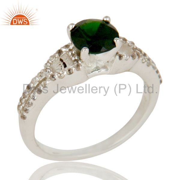 925 Sterling Silver Diopside Chrome And White Topaz Halo Style Ring