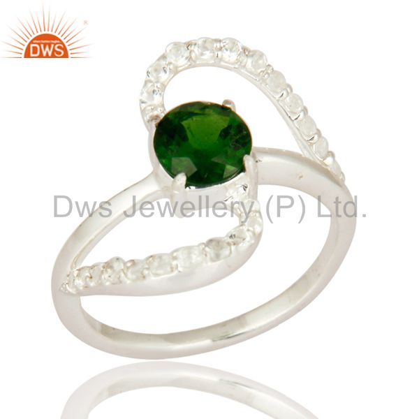 White Topaz And Chrome Diopside Gemstone Sterling Silver Gemstone Solitaire Ring