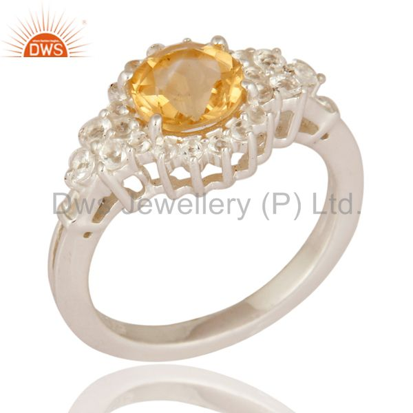 Genuine Citrine And White Topaz Gemstone Solid 925 Sterling Silver Wedding Ring